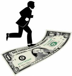 dollar running man vector image