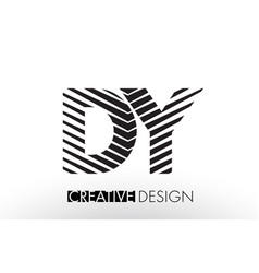 Dy d y lines letter design with creative elegant vector