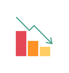 falling chart flat icon vector image