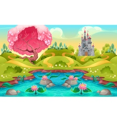 Fantasy landscape with castle in countryside vector