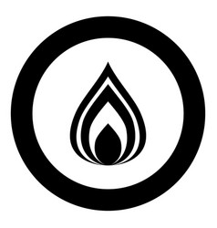 Fire icon black color in circle vector