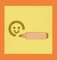 Flat shading style icon kids felt-tip marker vector