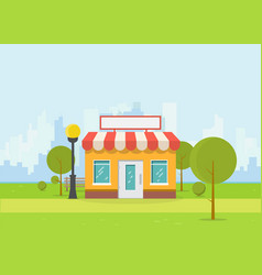 flat store and city vector image