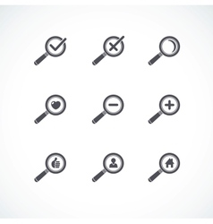 Flat style Magnifier icon set vector image