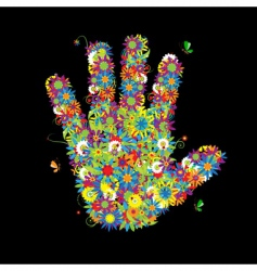 floral hand shape vector image