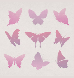 Flying butterfly sticker pink gradient flat vector