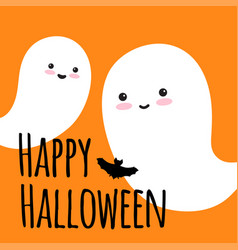 flying ghost spirit wishes a happy halloween vector image