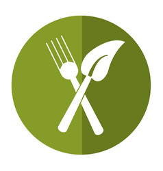 fork leaf healthy food symbol shadow vector image
