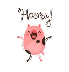 Funny pig yells hooray happy pink piglet vector