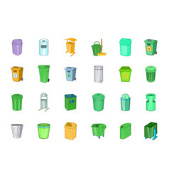 Garbage can icon set cartoon style vector