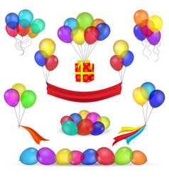Helium balloons and birthday decoration icons vector