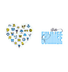 hello summer and set of summer colored icons heart vector image