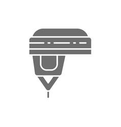 Hockey helmet protection uniform gray icon vector