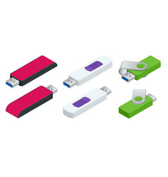 isometric set of usb flash drives usb memory vector image
