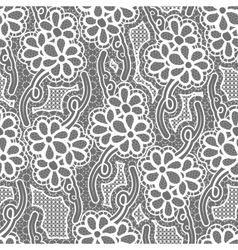 Lace dark seamless pattern with flowers on gray vector image