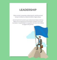Leadership poster depicting successful businessman vector