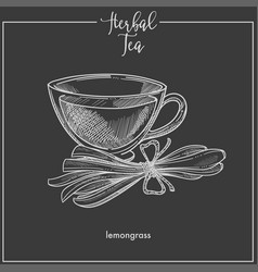 lemongrass tea cup chalk sketch icon for vector image