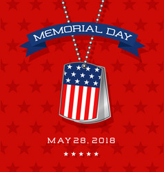 memorial day card with soldiers dog tags vector image