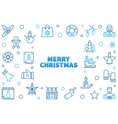merry christmas xmas blue vector image