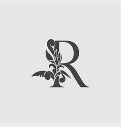 Monogram letter r luxury logo icon vintage deco r vector