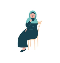 Muslim woman in hijab sitting on chair and vector