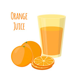 orange juice orange and slices cartoon style vector image vector image