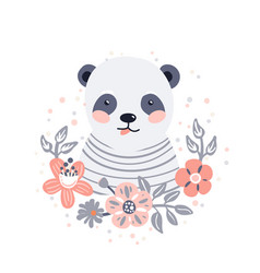 Panda cute animal baface with flowers and vector