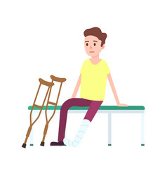 Patient on crutches with broken leg icon vector