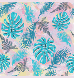 pattern with tropical monstera leaves tropilal vector image