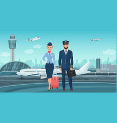 pilot captain and stewardess airplane crew vector image