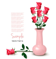 Pink roses in vaze vector