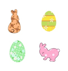 Rabbits and Easter eggs pastel vector image