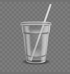 realistic plastic coffee cup clear plastic cup vector image