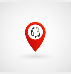 Red location icon for call center eps file vector