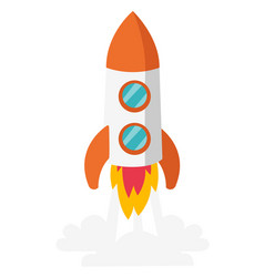 rocket take off cartoon vector image