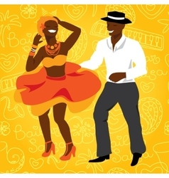 Salsa dancers Cuban couple dance salsa vector image