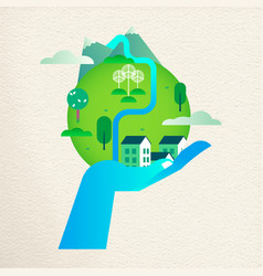 Save the earth concept with human hand helping vector