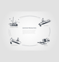 Seafood production - commercial fishing vector