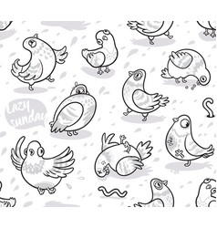 seamless pattern with cartoon pigeons in outline vector image