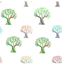 Seamless pattern with colorful watercolor trees vector