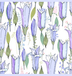 Seamless season pattern with blue bells endless vector