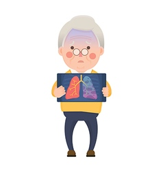 Senior Man with Lung Cancer Problem vector