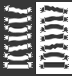 Set of flat isolated black and white ribbons and vector