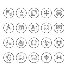 set round line icons of education vector image