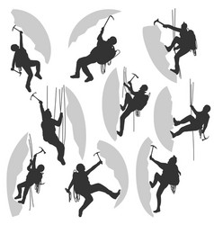 set silhouettes of alpinists vector image
