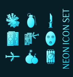 Set terrorism blue glowing neon icons vector