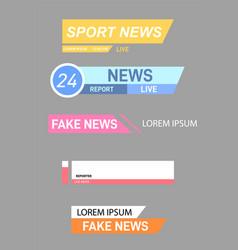 set tv news bars vector image