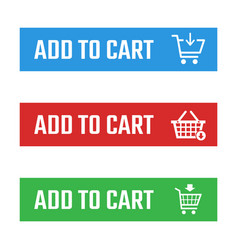 Shopping cart item add buttons set buy now vector