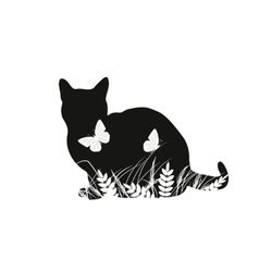 Silhouettes cat with butterflies vector