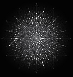 silver snowflake made connected lines and dots vector image